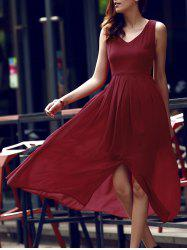 Simple Style Women's V Neck Sleeveless Wine Red Furcal Dress