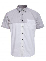 Fashion Shirt Collar One Pocket Color Block Short Sleeves Button-Down Shirt For Men - COLORMIX M