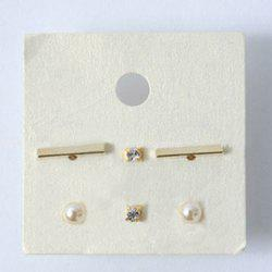 3 Pairs Chic Faux Pearl Rhinestone Rectangle Stud Earrings For Women -