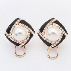Pair of Square Faux Pearl Hollow Out Earrings -