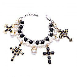 Vintage Multilayered Faux Pearl Cross Bracelet -