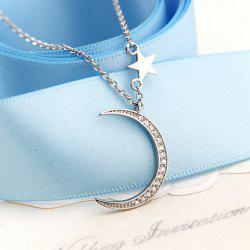 Moon Pentagram Rhinestoned Pendant Necklace