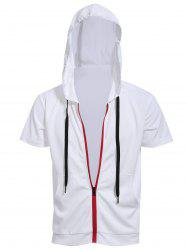 Red Zipper Fly Front Pocket Hooded White Short Sleeve Hoodie