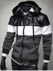PU Leather Spliced Color Block Hooded Long Sleeves Hoodie For Men -