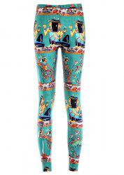 Retro Style Printed High Elasticity Leggings For Women - GREEN