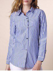 Casual Shirt Collar Stripes Print Long Sleeve Blouse For Women