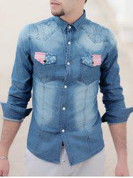 Turn-Down Collar Bleach Wash Flag Print Long Sleeve Pocket Men's Denim Shirt