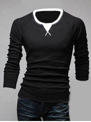 Classic Color Block Triangle Pattern Slimming Round Neck Long Sleeves Men's Linen Blended T-Shirt - BLACK