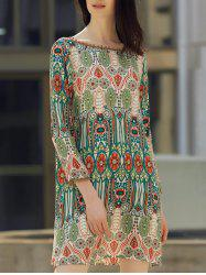 Boat Neck Back V-Shape Indian Print Dress - COLORMIX