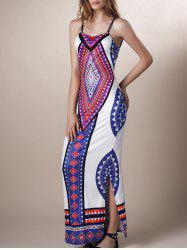 Aztec Print Slit Backless Maxi Slip Dress