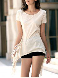 Short Sleeve Fringed Asymmetrical Tee