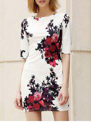 Trendy Round Collar Floral Print Skinny Women's Dress -