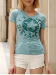 Casual V-Neck Short Sleeve Star T-Shirt For Women