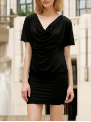 Casual Cowl Neck Short Sleeve Solid Color Bodycon Dress For Women -