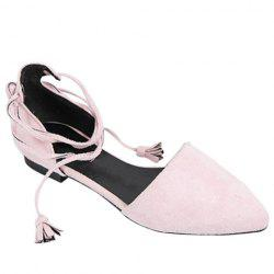 Tassels Lace Up Ballet Flats -