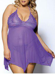 Plus Size Chic Halter Low-Cut Asymmetric See-Through Laciness Pure Color  Women's Babydoll