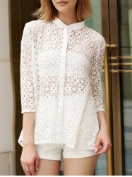 Trendy Stand Collar 3/4 Sleeve Lace Hollow Out White Cover-Up Blouse For Women