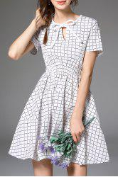 Fit and Flare Checked Cotton Dress -