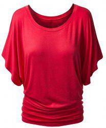Bat Sleeve Jewel Neck Plain T-Shirt