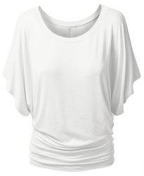 Simple Style Women's Bat Sleeve Jewel Neck Pure Color T-Shirt