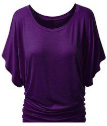 Simple Style Women's Bat Sleeve Jewel Neck Pure Color T-Shirt - PURPLE