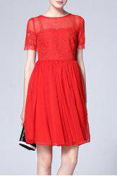 Lace Splicing Pleated Dress -