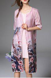 Pink Open Front Longline Blouse and Cami Dress -