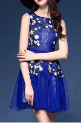 Floral Embroidered Sleeveless Dress -
