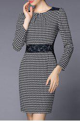 Lace Panel Houndstooth Sheath Dress -