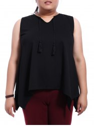 Stylish Plus Size Jewel Neck Black Asymmetrical Top For Women