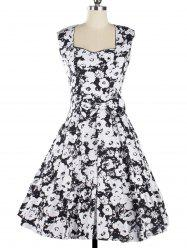 Vintage Floral Knee Length Fit and Flare Dress