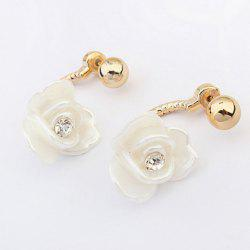 Graceful Rhinestone and Plastic Flower Stud Earrings