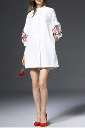 Lantern Sleeve Embroidered Shirt Dress - WHITE S