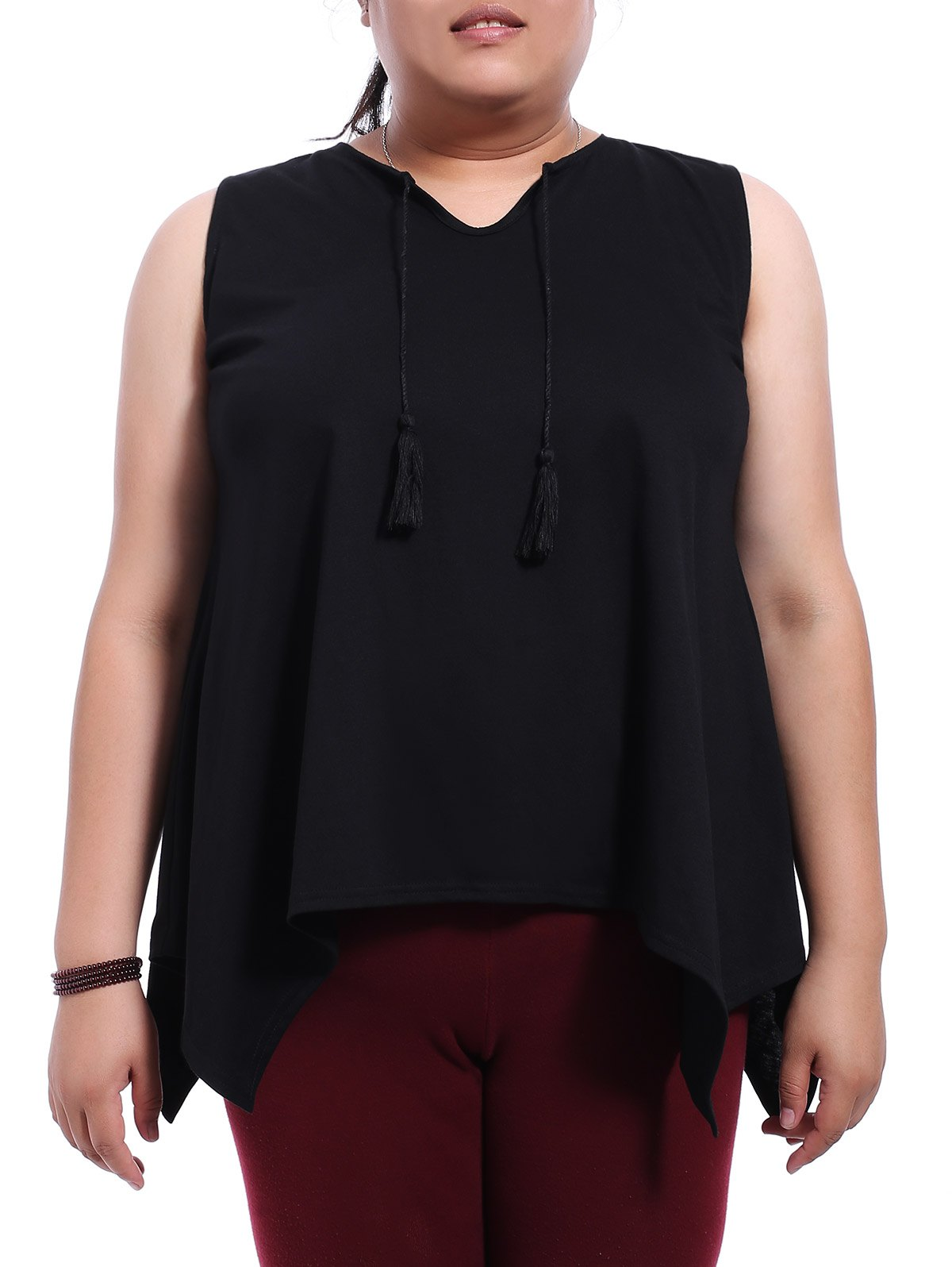 Stylish Plus Size Jewel Neck Black Asymmetrical Top For Women DRESSFO