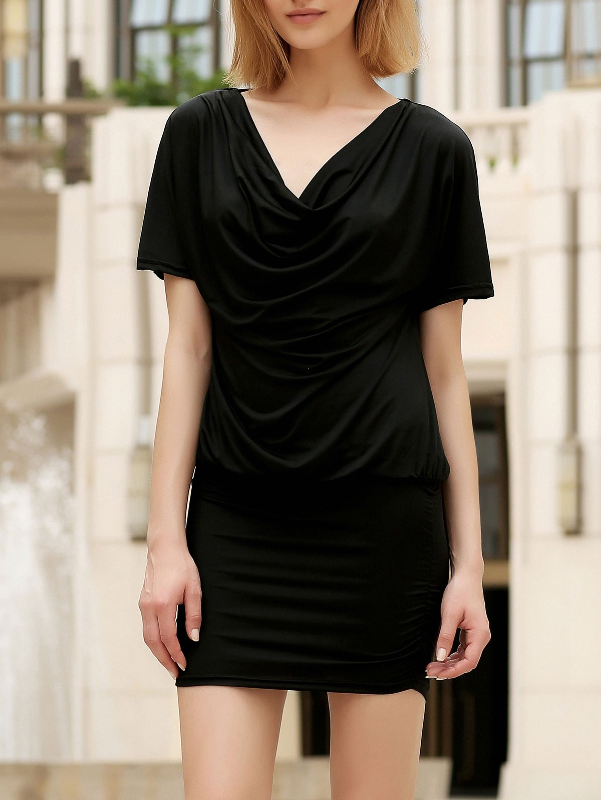 Shops Casual Cowl Neck Short Sleeve Solid Color Bodycon Dress For Women