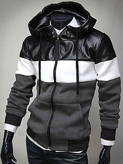 Store PU Leather Spliced Color Block Hooded Long Sleeves Hoodie For Men