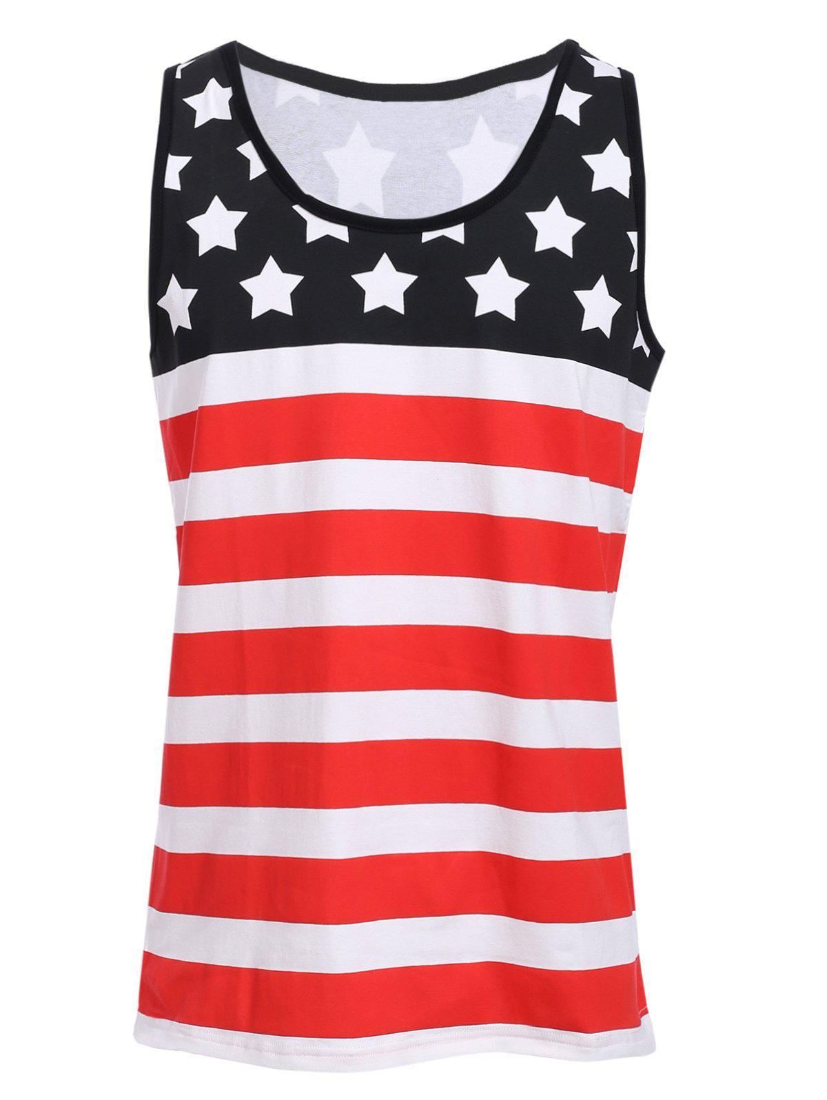 Best Sports Round Neck Stripes Star Print Color Block Tank Top For Men