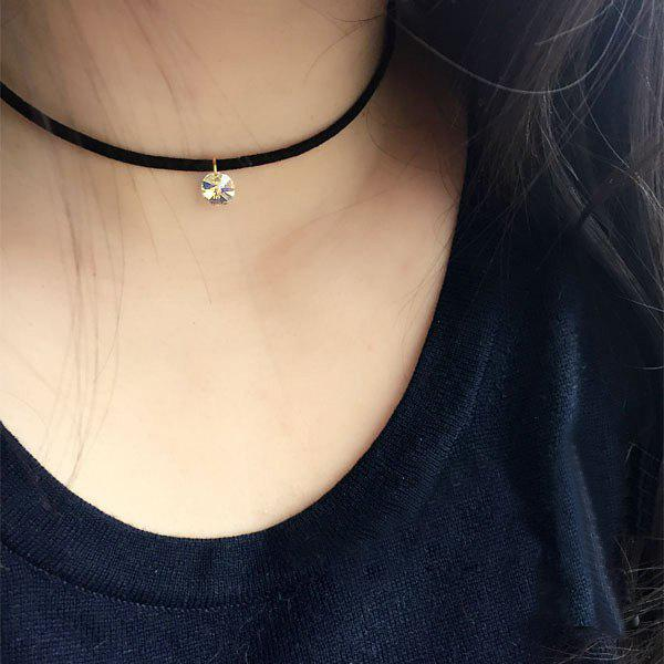 Punk Faux Zircon Choker NecklaceJEWELRY<br><br>Color: BLACK; Item Type: Chokers Necklace; Gender: For Women; Necklace Type: Leather Chain; Style: Trendy; Shape/Pattern: Others; Weight: 0.024kg; Package Contents: 1 x Necklace;