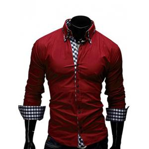 Checked Splicing Design Casual Button Down Shirt - Red - L
