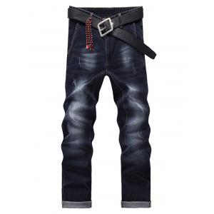 Men's Fashion Zip Fly Straight Legs Cropped Jeans - Black Grey - 32