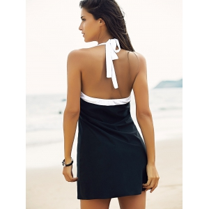 Halter Sailor Swimdress Stripe Tankini Top Bathing Suit - WHITE AND BLACK XL