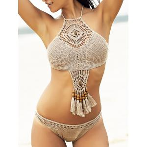 Fashion High Neck Openwork Crocheted Bikini Set For Women