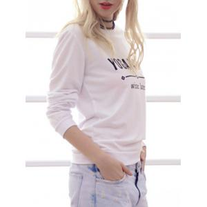 Simple Style Long Sleeve Round Neck Letter Print Women's Sweatshirt -