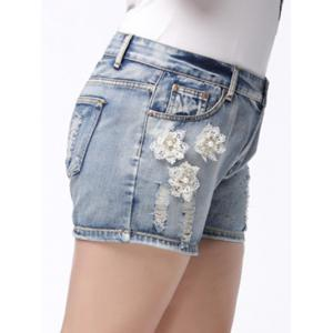Trendy Plus Size Pocket Design Broken Hole Beaded Women's Shorts -