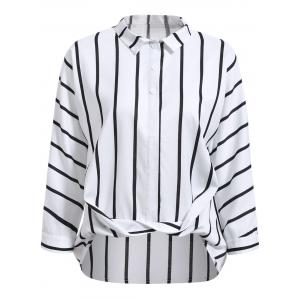 Fashionable Flat Collar Long Sleeve Striped Wrap Shirt For Women