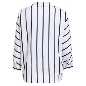 Fashionable Flat Collar Long Sleeve Striped Wrap Shirt For Women - WHITE S