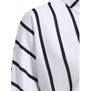 Fashionable Flat Collar Long Sleeve Striped Wrap Shirt For Women - WHITE M