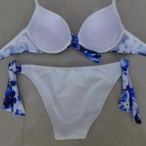 String Floral Push Up Bikini Set -