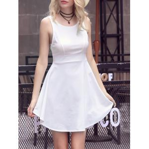 Sweet Solid Color Scoop Neck Backless Women's Sundress - WHITE M