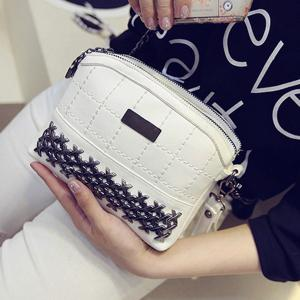 Simple Metal and Chain Design Crossbody Bag For Women -